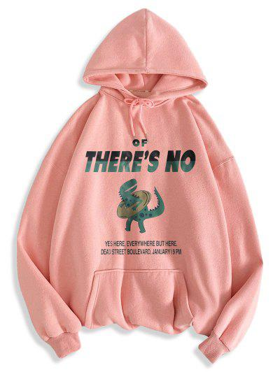 There's No Letter Cartoon Dinosaur Pattern Hoodie - Pink Xl
