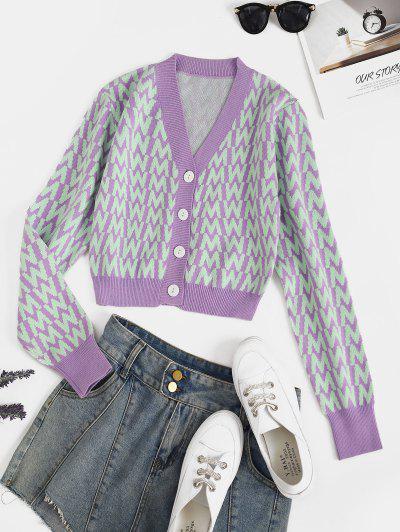 V Neck Button Up Dazzling Graphic Cardigan - Purple