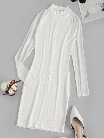 Vestido Bodycon Mangas Compridas Com Nervuras - Branco S