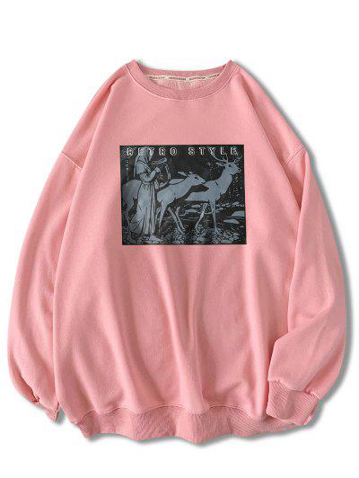 Retro Style Woman Animal Graphic Sweatshirt - Pink 2xl