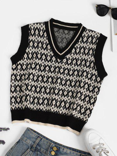 V Neck Geo Sweater Vest - Multi-b