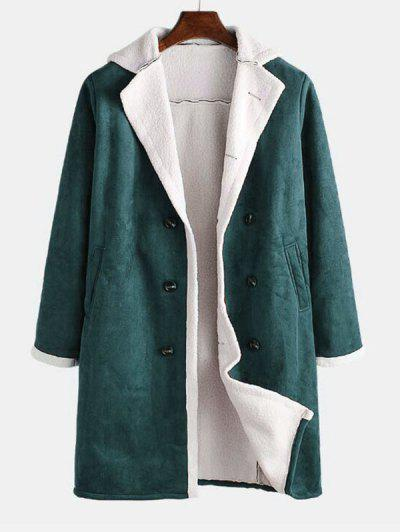 Double Breasted Faux Fur Lined Faux Suede Longline Coat - Deep Green Xl