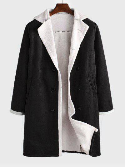 Double Breasted Faux Fur Lined Faux Suede Longline Coat - Black L