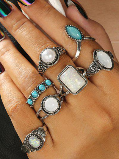 7 Piece Faux Gemstone And Turquoise Finger Rings Set - Silver