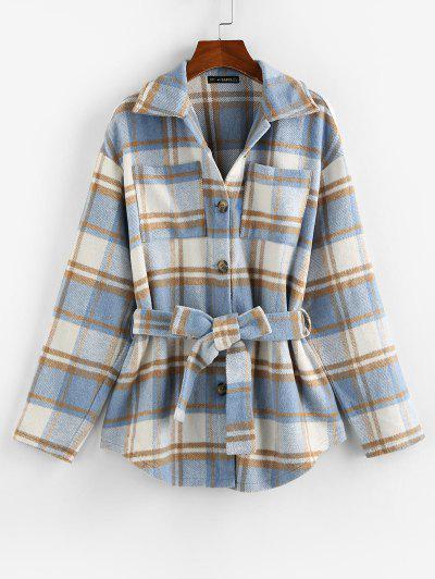 Front Pockets Plaid Belted Jacket - Light Blue S
