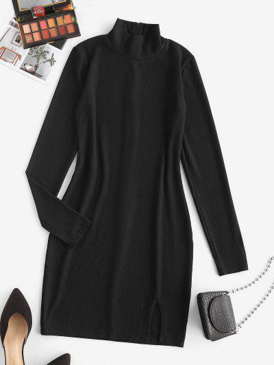 Ribbed High Neck Slit Bodycon Dress - Black M