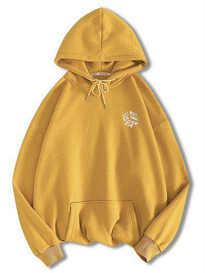 Letter Graphic Print Front Pocket Hoodie - Golden Brown S