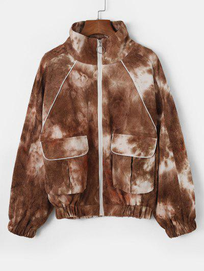Tie Dye Zip Up Corduroy Cargo Jacket - Multi-a L