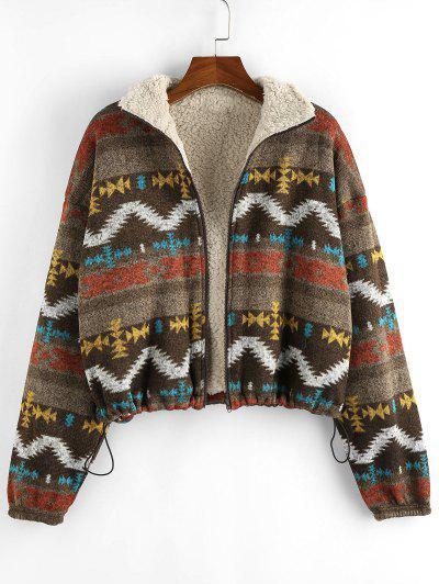 ZAFUL Tribal Print Plaid Faux Fur Lined Jacket - Multi-c L