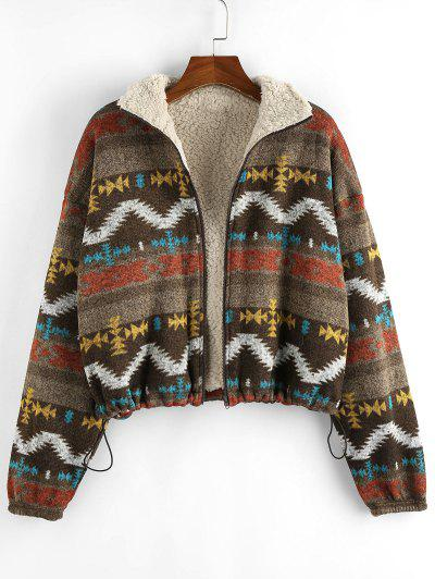 ZAFUL Tribal Print Plaid Faux Fur Lined Jacket - Multi-c S