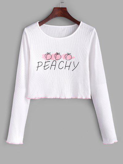 T-shirtavec Poche Poitrine à Ourlet En Laitue - Blanc S