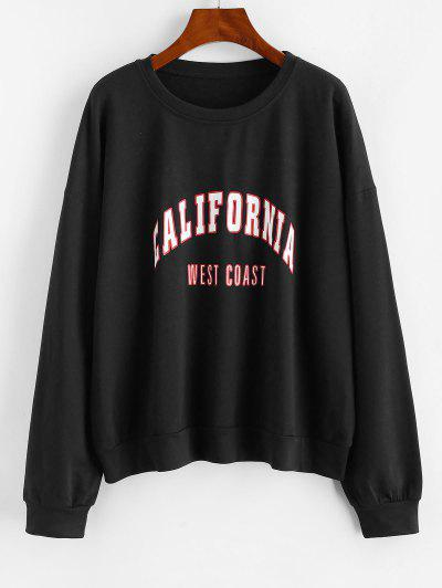 Letter Graphic Drop Shoulder French Terry Sweatshirt - Black L