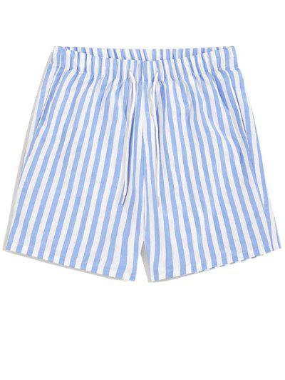 Vertical Striped Leisure Home Shorts - Sky Blue 2xl