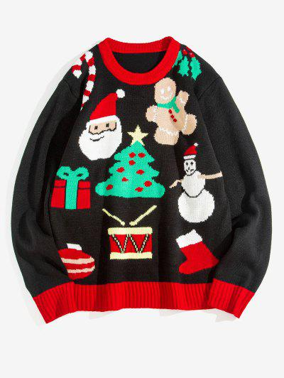 Weihnachtsbaum Weihnachtsmann Muster Kapuze - Schwarz 2xl