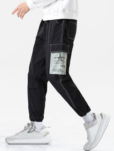 Calças De Carta De Costura De Patchwork - Preto 3xl