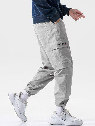 Flap Pocket Letter Print Toggle Cuff Cargo Pants - Light Gray 4xl