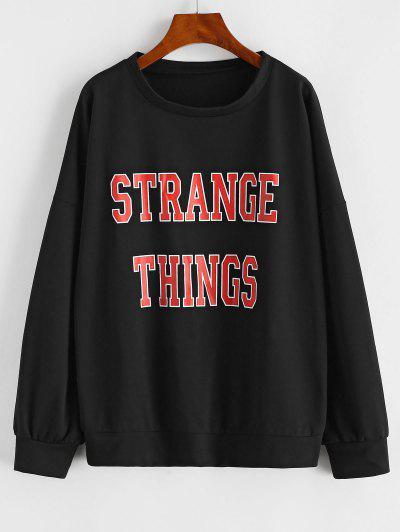 Drop Shoulder Strange Things Print Loose Sweatshirt - Black M