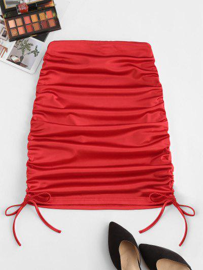 Cinched Tie Sheeny Bodycon Skirt - Red M