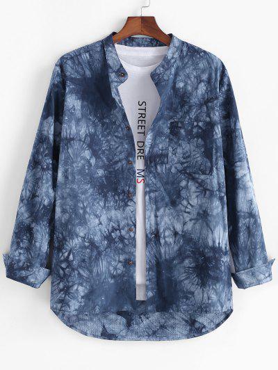Tie Dye Print High Low Pocket Long Sleeve Shirt - Blue 2xl