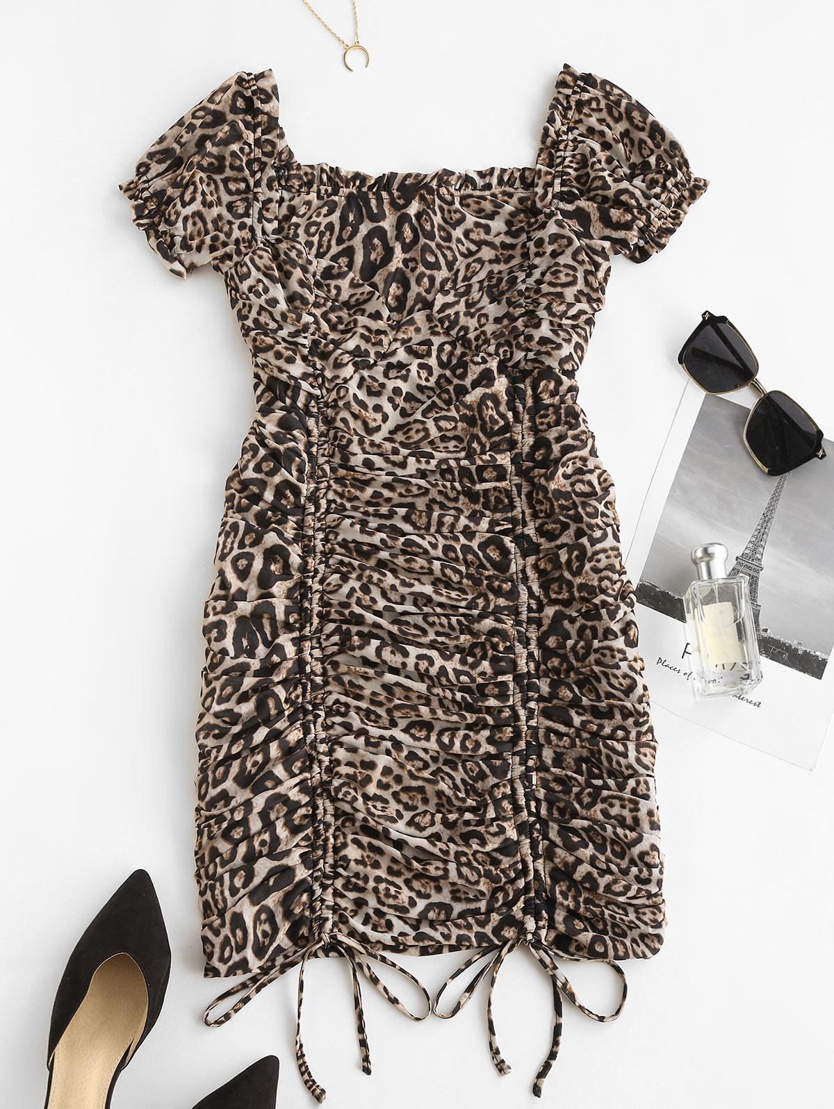 Leopard Milkmaid Cinched Ruched Mesh Bodycon Dress