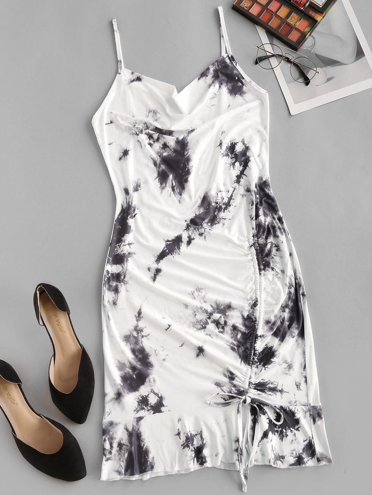 Tie Dye Cinched Flounce Cowl Front Cami Dress
