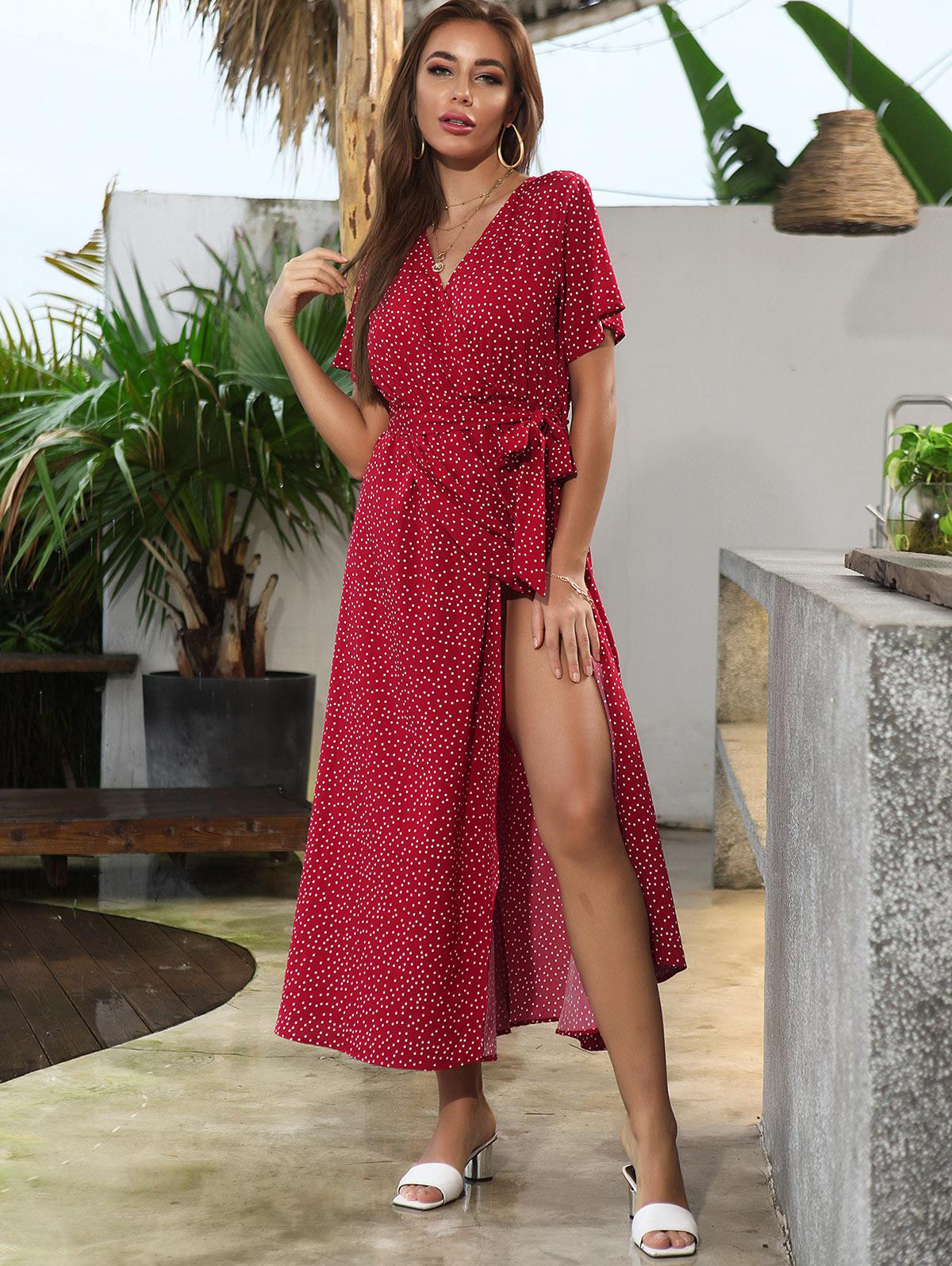 Polka Dot Belt High Slit Maxi Surplice Dress