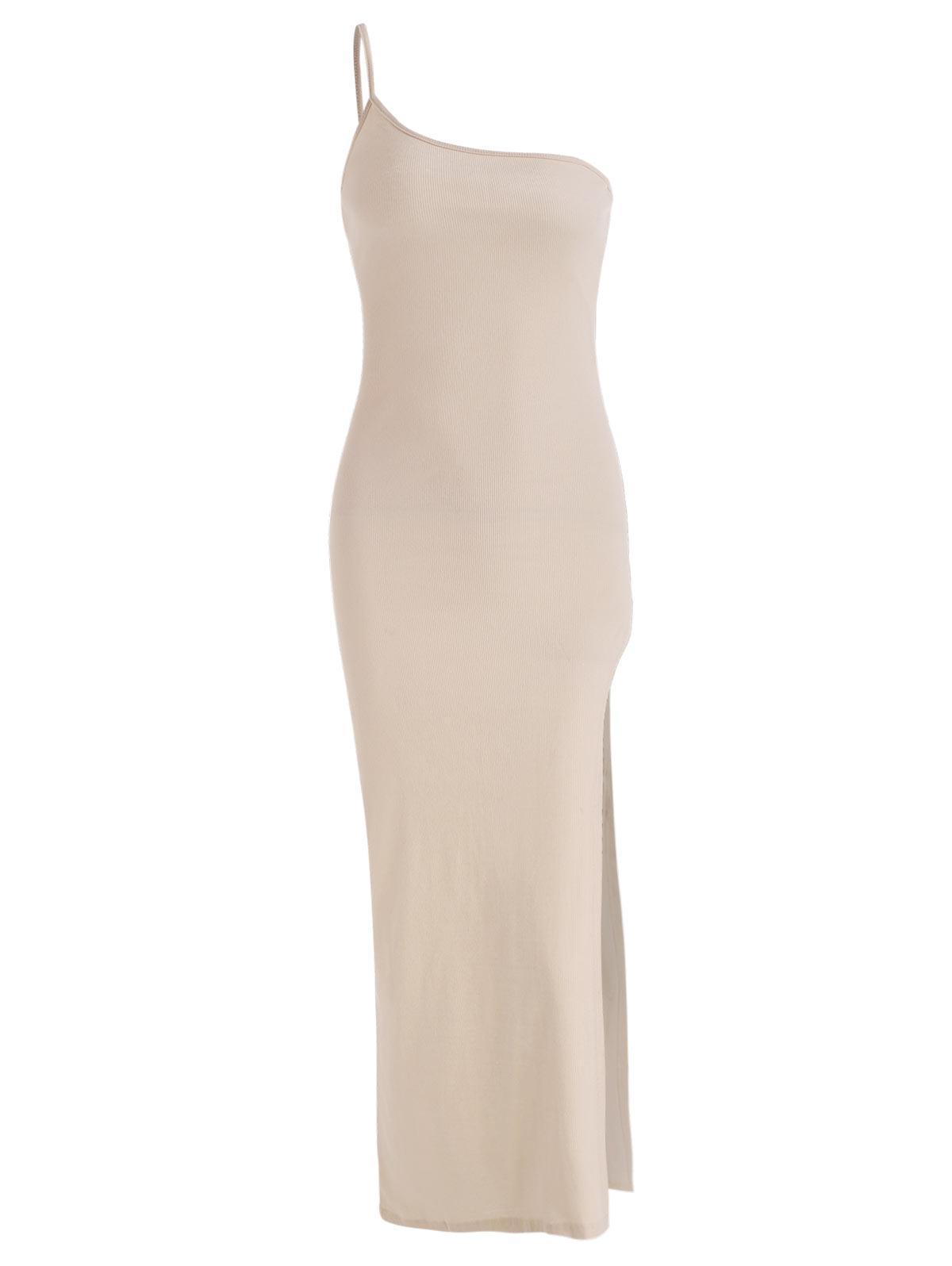 Ribbed One Shoulder Long Slit Bodycon Dress
