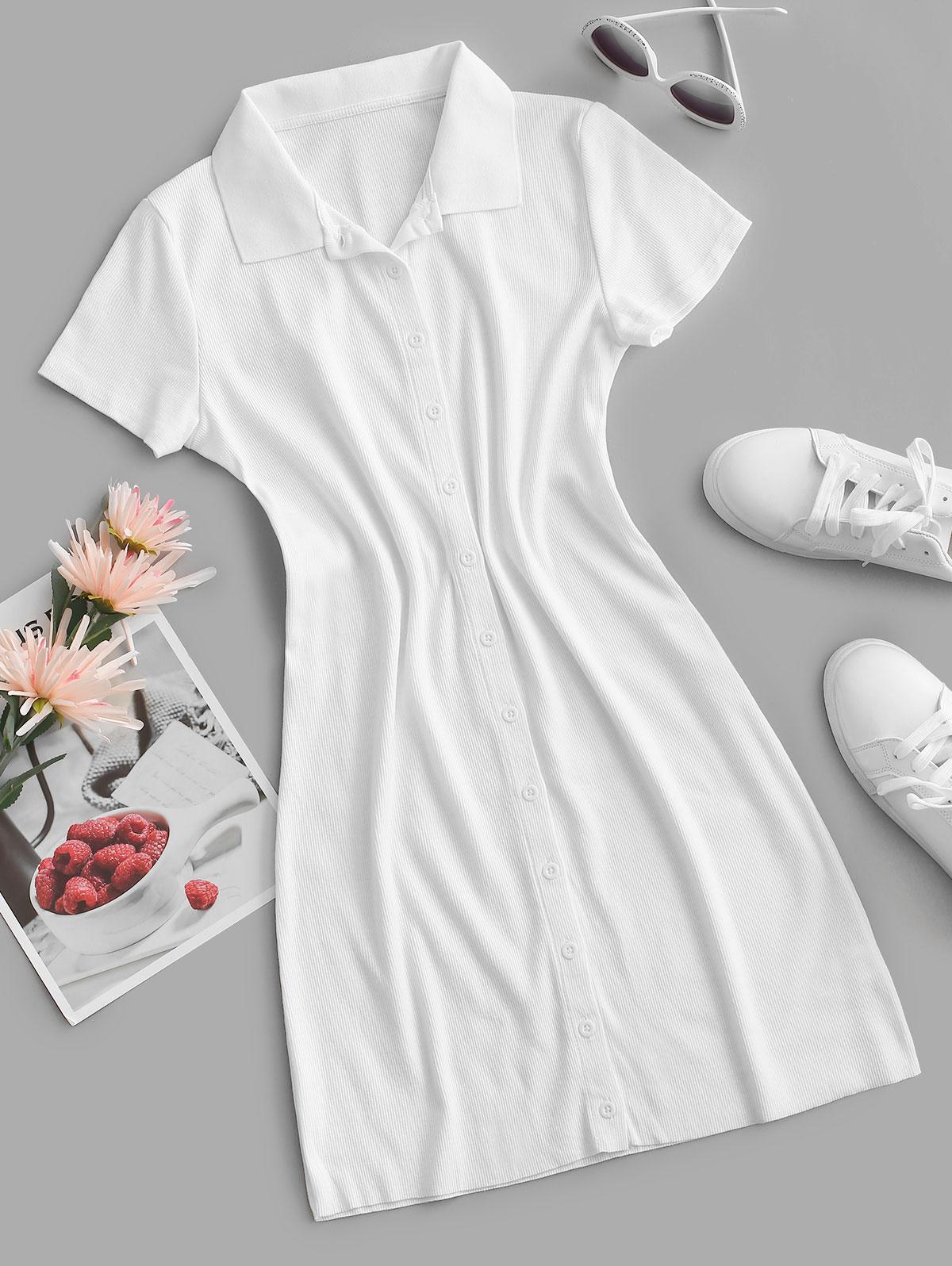 Rib-knit Fitted Shirt Dress