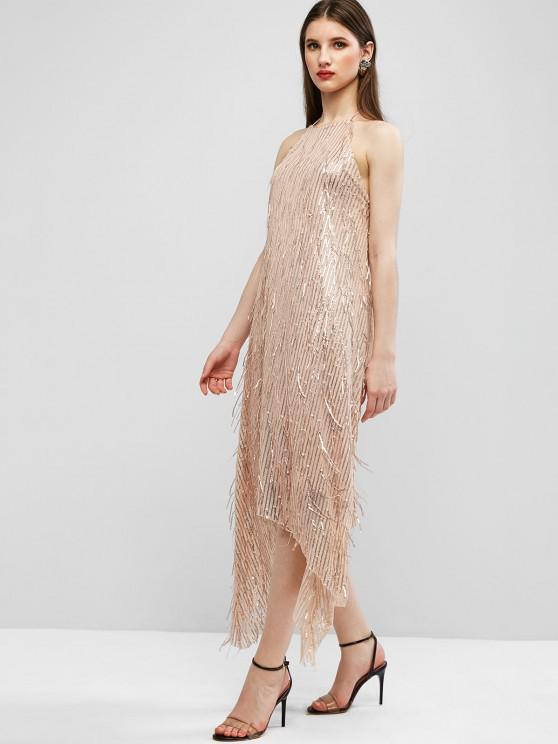 ZAFUL Halter Sparkle Sequined Open Back Party Dress - Apricot S