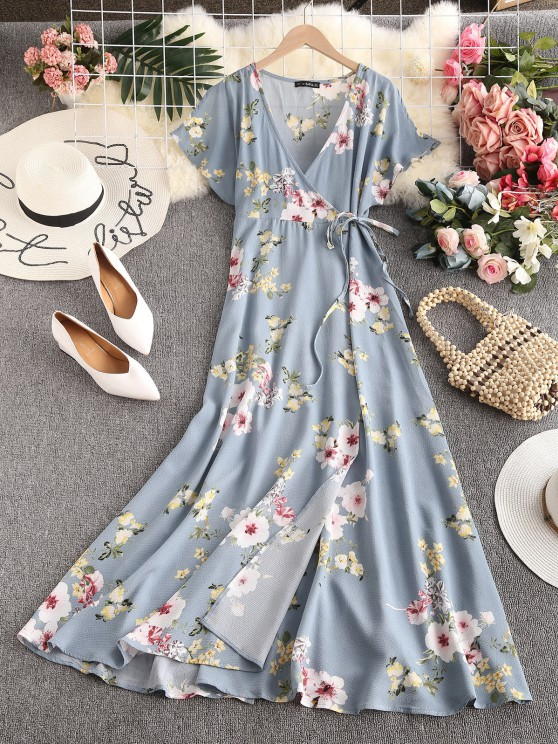 women ZAFUL Floral Slit Sleeves Maxi Wrap Dress - LIGHT BLUE M