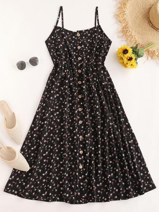 unique ZAFUL Flower Button Down Cami Dress - BLACK M