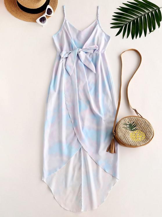 latest Tie Dye Bowknot Cami Tulip Dress - LIGHT BLUE L