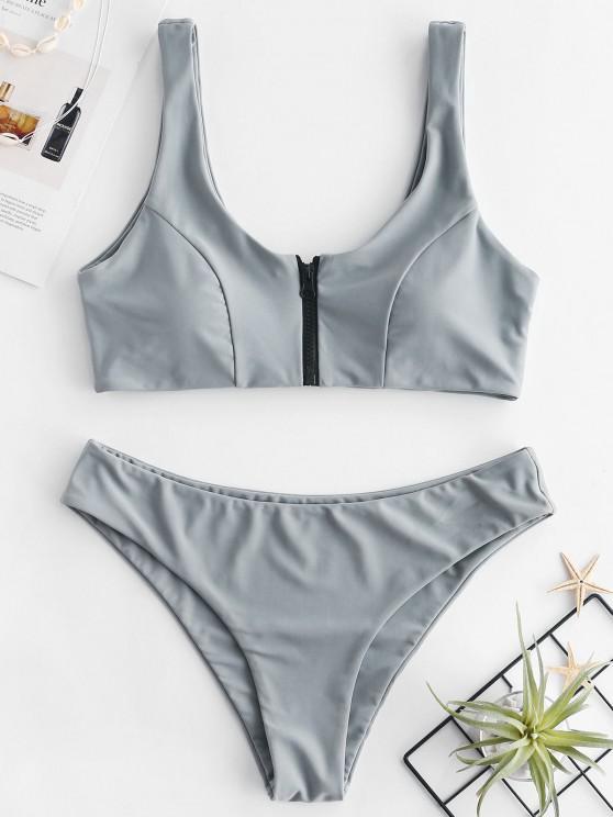 new ZAFUL Zip Front Tank Bikini Set - GRAY CLOUD L