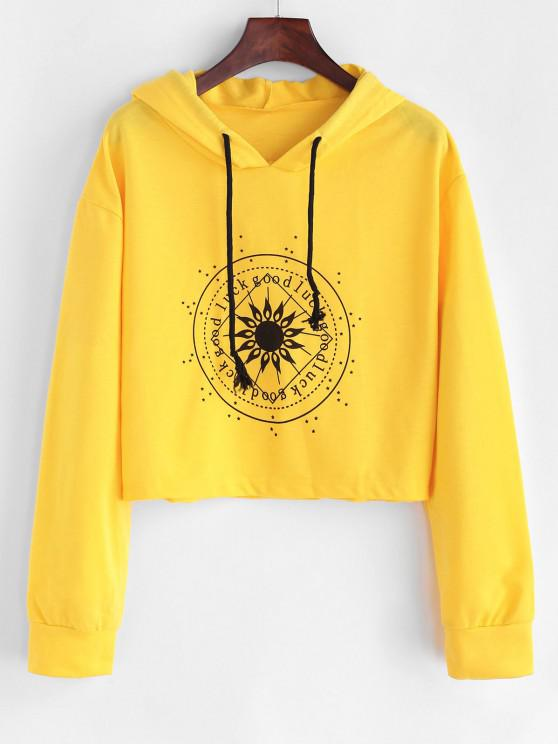 Drawstring Good Luck Chart Graphic Hoodie - الأصفر XL