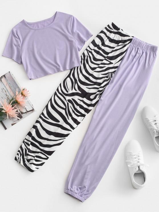 chic Zebra Striped Beam Feet Two Piece Pants Set - LIGHT PURPLE L