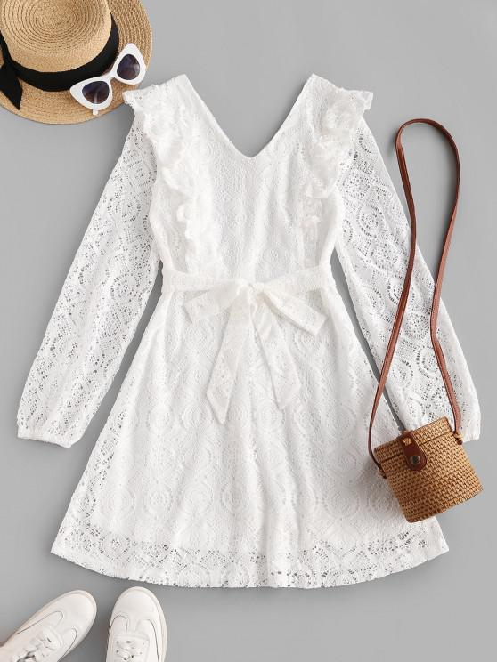buy Belted Ruffles Long Sleeve Lace Dress - WHITE L