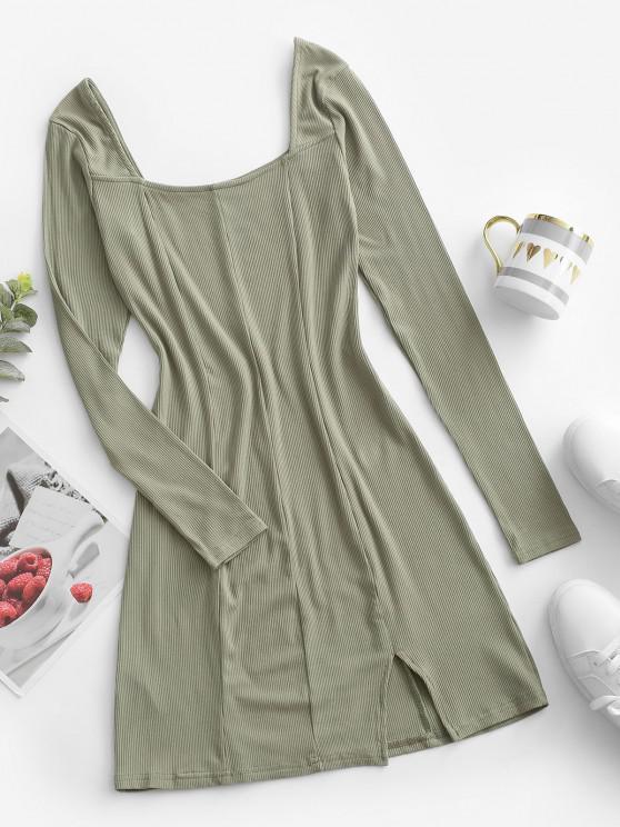 ladies Square Collar Rib-knit Long Sleeve Dress - LIGHT GREEN L