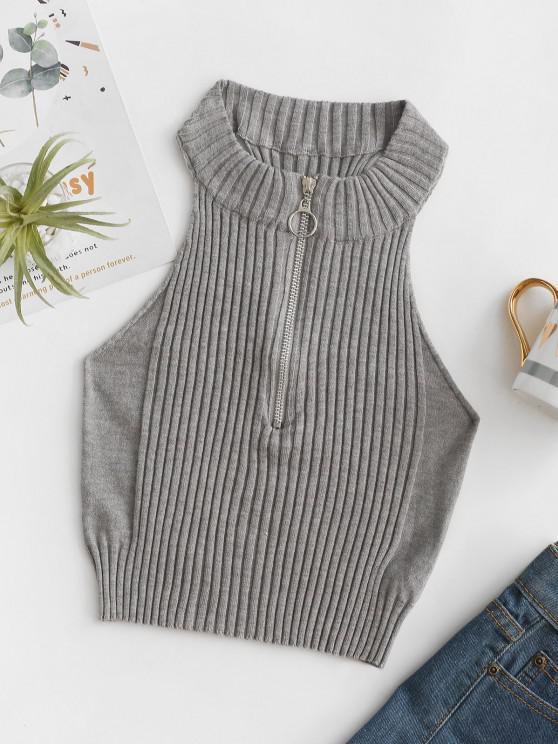 Pull-ring Zip Rib Crop Knitwear - سحابة رمادية S