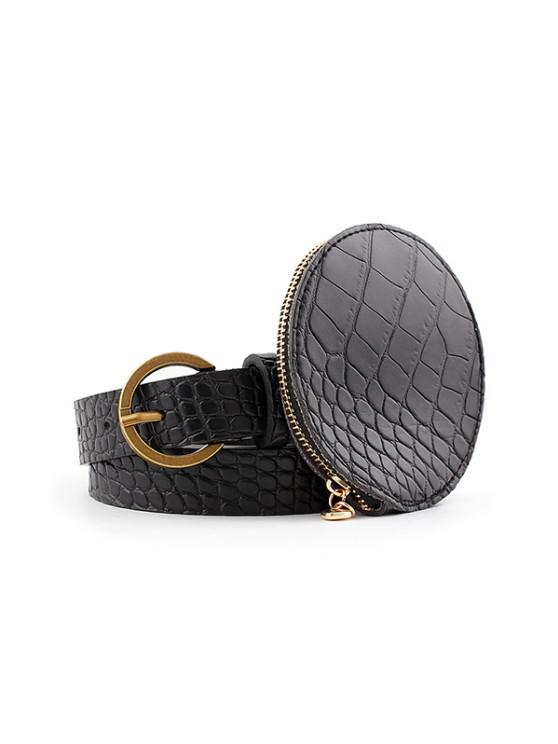 outfits Textured Round Bag Buckle Belt - BLACK
