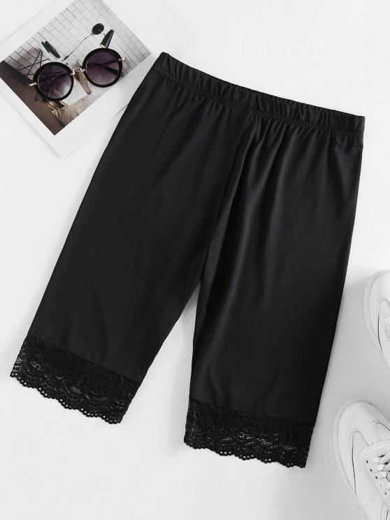 womens ZAFUL Scalloped Lace Insert Biker Shorts - BLACK S