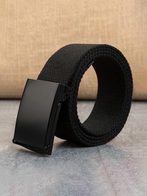 Cinturón de Lona Tejida con Anillo Doble Hebilla - Negro