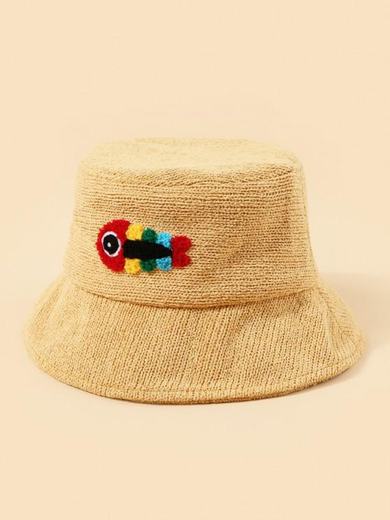 affordable Plush Fish Graphic Knitted Bucket Hat - YELLOW