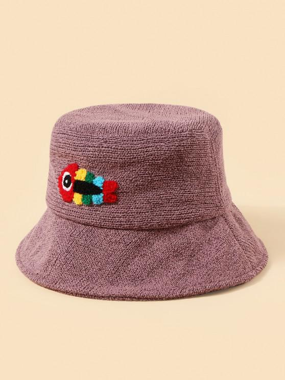 Plush Fish Graphic Knitted Bucket Hat - أرجواني