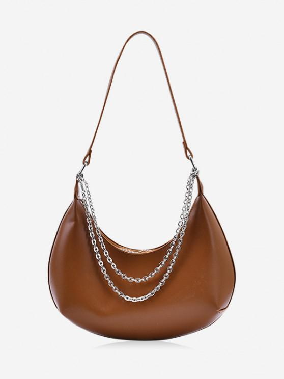 fashion Half-moon Layered Chain Underarm Shoulder Bag - BROWN