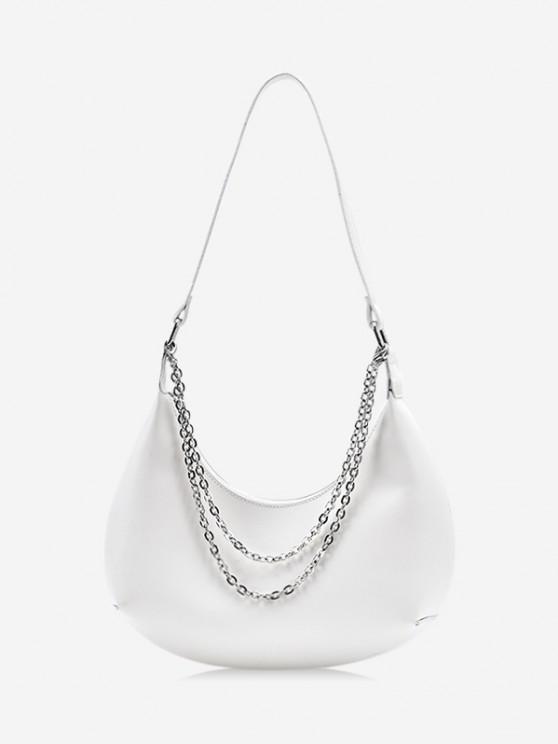 chic Half-moon Layered Chain Underarm Shoulder Bag - WHITE