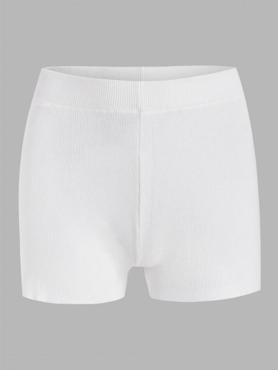 unique Plain High Waisted Knitted Shorts - WHITE ONE SIZE