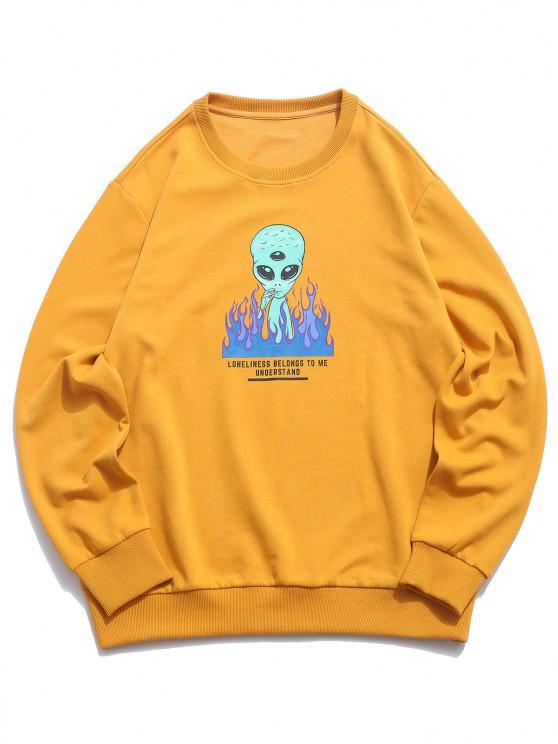 best ZAFUL Fire Flame Smoking ET Letter Graphic Sweatshirt - DEEP YELLOW XL