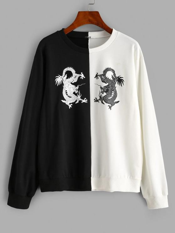 trendy Dragon Oriental Two Tone Sweatshirt - MULTI S
