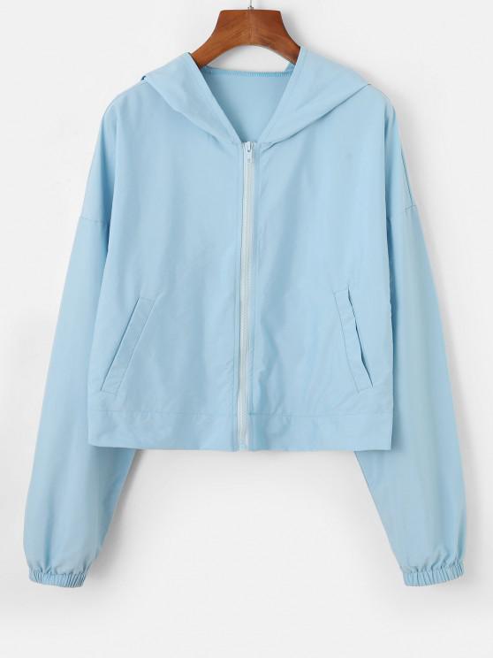 women Hooded Drop Shoulder Zip Pocket Jacket - LIGHT BLUE XL