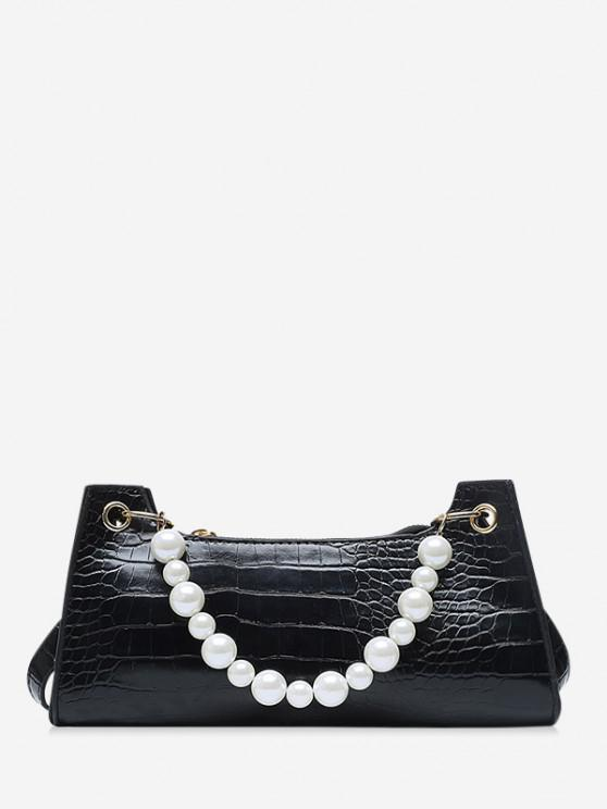 outfit Faux Pearl Animal Embossed Underarm Shoulder Bag - BLACK